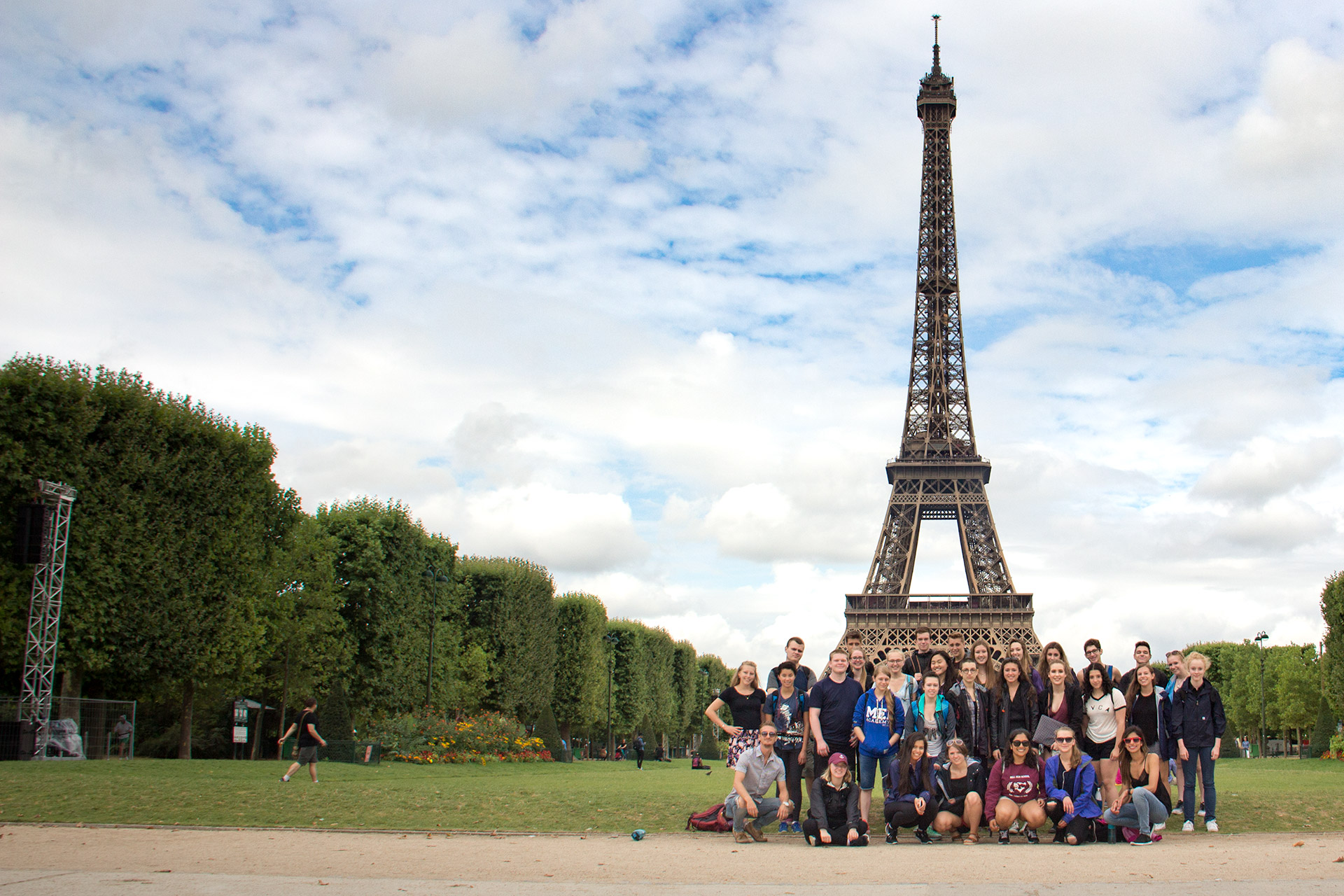 Class in front of the Eiffel Tower