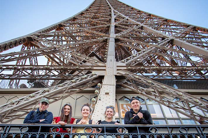 Students on the Eiffel Tower