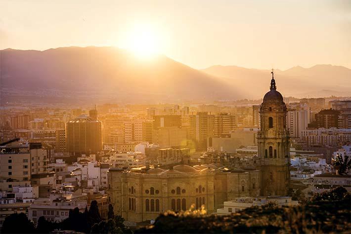 Malaga city skyline