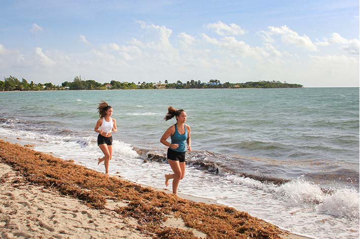 Students jogging on the beach