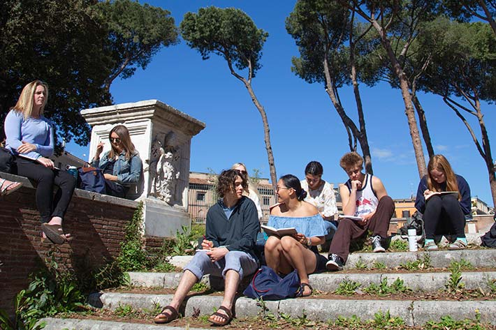 Students on the ancient steps