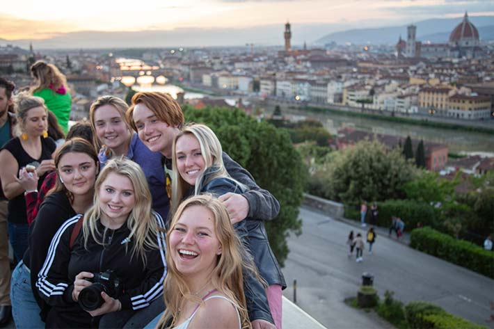 Students in front of Florence Skyline