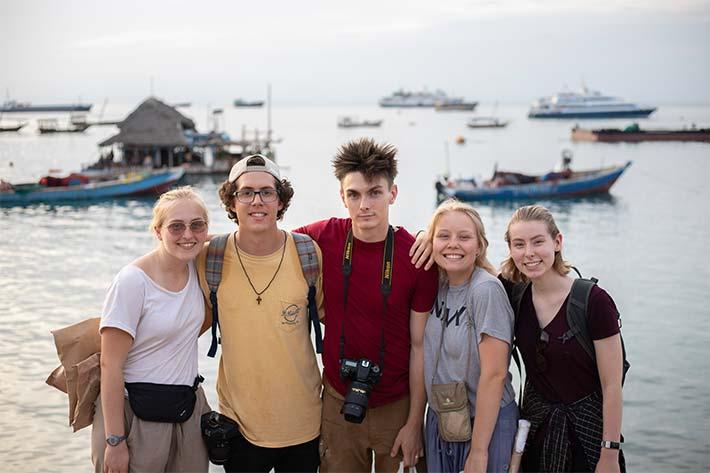 Students on Zanzibar beach