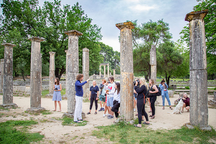 At the archaeological ruins of Olympia