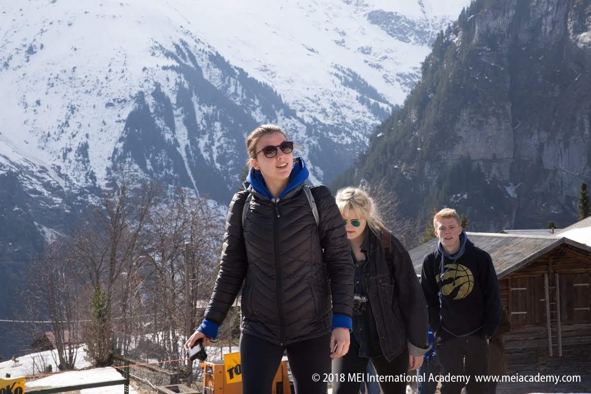 Students in the Alps
